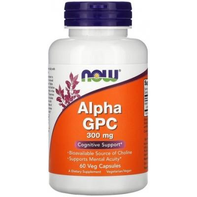Now Foods Alpha GPC 300mg, Suport cognitiv, Glicerilfosforilcolină - 60 Capsule vegetale