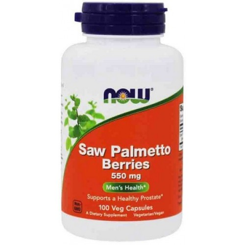 NOW Saw Palmetto Berries, Sanatatea Prostatei, 550mg -  100 Capsule vegetale
