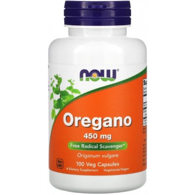 NOW Oregano 450mg, Non-GMO - 100 Capsule vegetale