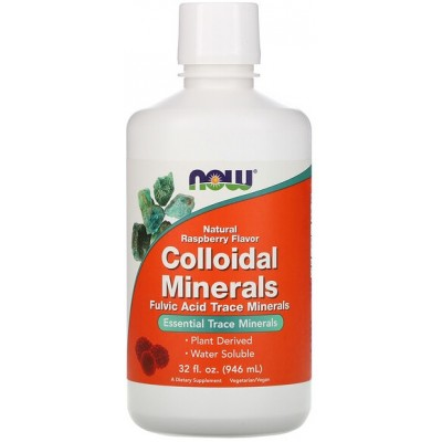 NOW Minerale Coloidale cu Aroma de zmeura - 946ml