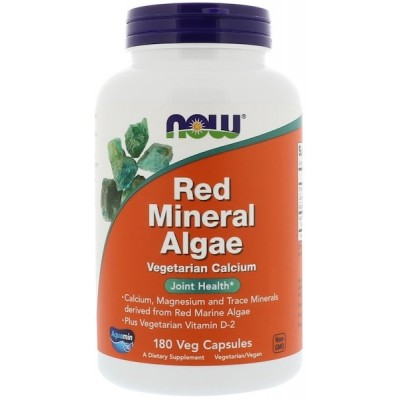 NOW Red Mineral Algae Plus Vitamina D-2 - 180 Capsule vegetale