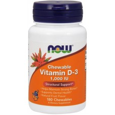 NOW Vitamina D-3 1000 IU - 180 Tablete masticabile
