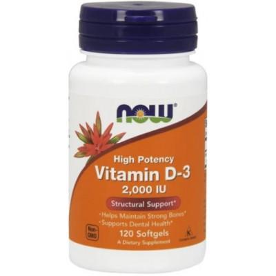 NOW Vitamina D-3 2000 IU - 120 Softgels
