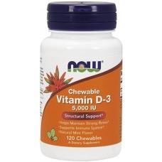 NOW Vitamina D-3 5000 IU - 120 Tablete masticabile