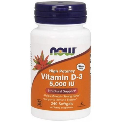 NOW Vitamina D-3 5000 IU - 240 Softgels