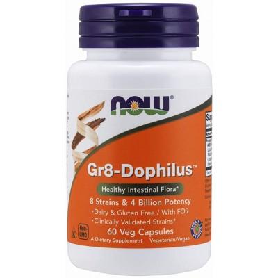 NOW PROBIOTIC Gr8-DOPHILUS, 8 Tulpini si 4 Miliare de microorganizme - 60 Capsule vegetale