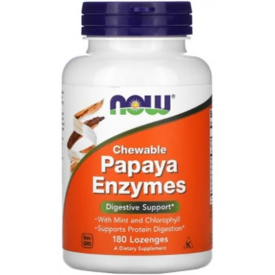 NOW Papaya Enzymes, Digestia Proteinelor - 180 Tablete masticabile