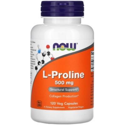 NOW L-Proline 500mg, Collagen Production - 120 Veg Capsules