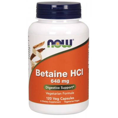 NOW Betaina HCI 648mg - 120 Capsule Vegetariene