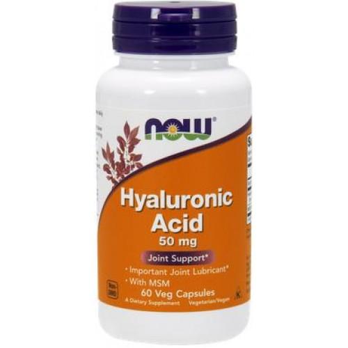 NOW Acid Hialuronic 50mg cu MSM- 60 Capsule vegetale