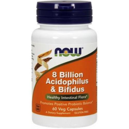 NOW Acidophilus & Bifidus 8 Billion  - 60 Capsule vegetale