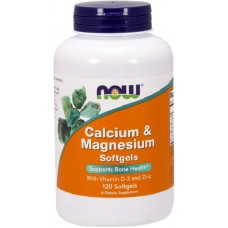 NOW Calciu si Magneziu cu Vitamina D-3 si Zinc - 120 Softgels