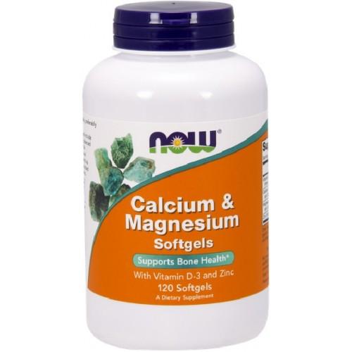 NOW Calciu si Magneziu cu Vitamina D-3 si Zinc - 120 gelule