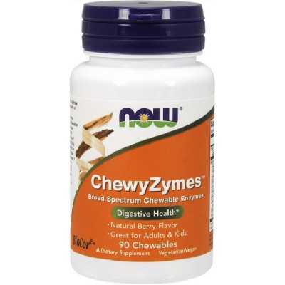 NOW ChewyZymes Enzime Digestive - 90 Tablete masticabile