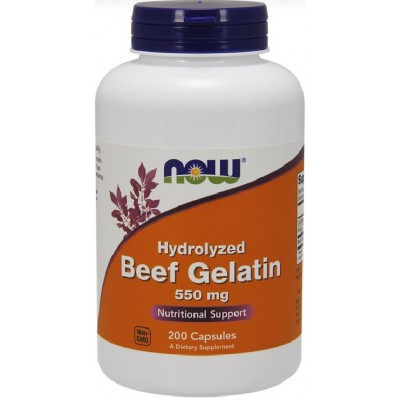 NOW Gelatina Hidrolizata din Vita - 200 Capsule