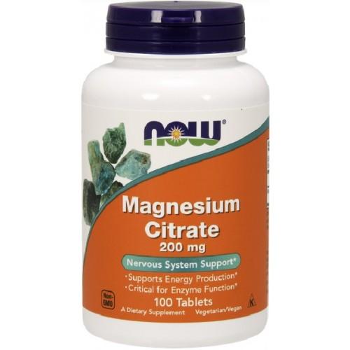 NOW Magneziu Citrat 200mg - 100 Tablete