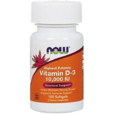 NOW Vitamina D-3 10,000 IU - 120 Softgels