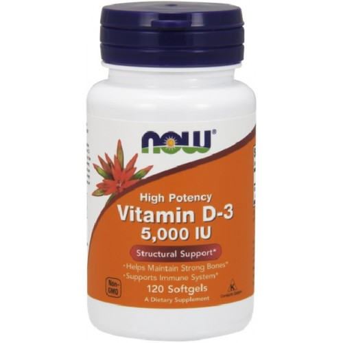 NOW Vitamina D-3 5,000 IU - 120 Softgels