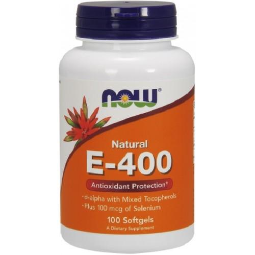 NOW Vitamina E-400 IU cu Seleniu - 100 Softgels