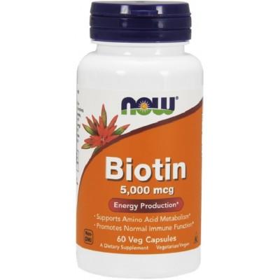 NOW Vitamina H (Biotina) 5000mcg - 60 Capsule vegetale