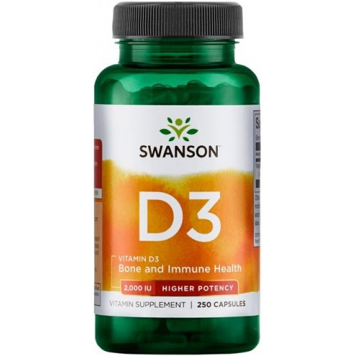 Swanson Vitamina D-3 2000 IU Higher Potency - 250 Capsule