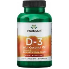 Swanson Vitamina D-3 cu Ulei de cocos 2000 IU - 60 Softgels